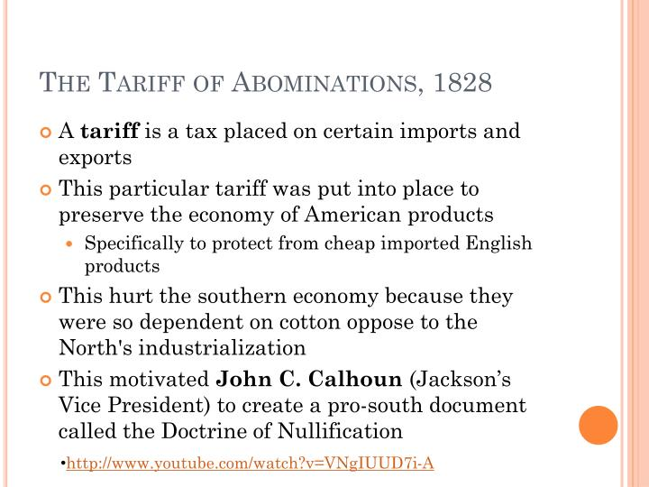 The Tariff of Abominations, 1828