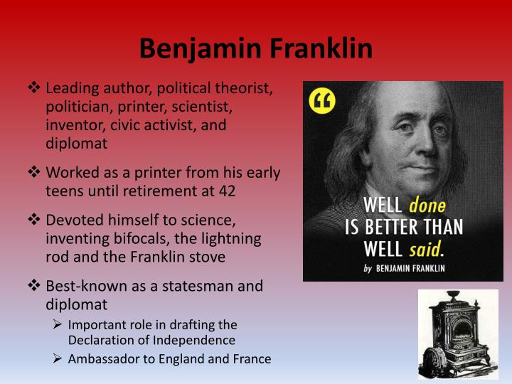 a description of benjamin franklin as a scientist and inventor Benjamin franklin accomplishments speak for themselves besides his political influence, benjamin franklin was a scientist, inventor and author he is known for inventing the lightning rod, for writing the most popular almanac in 18th century and for founding the university of pennsylvania - to name.