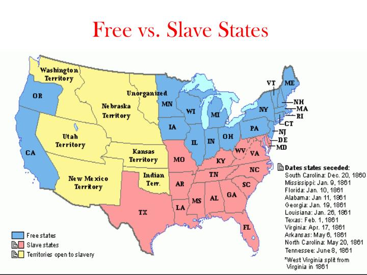 slave states free states map Ppt Free Vs Slave States Powerpoint Presentation Free Download
