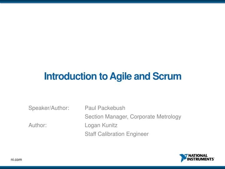 introduction to agile and scrum n.