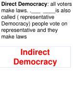 indirect representative democracy