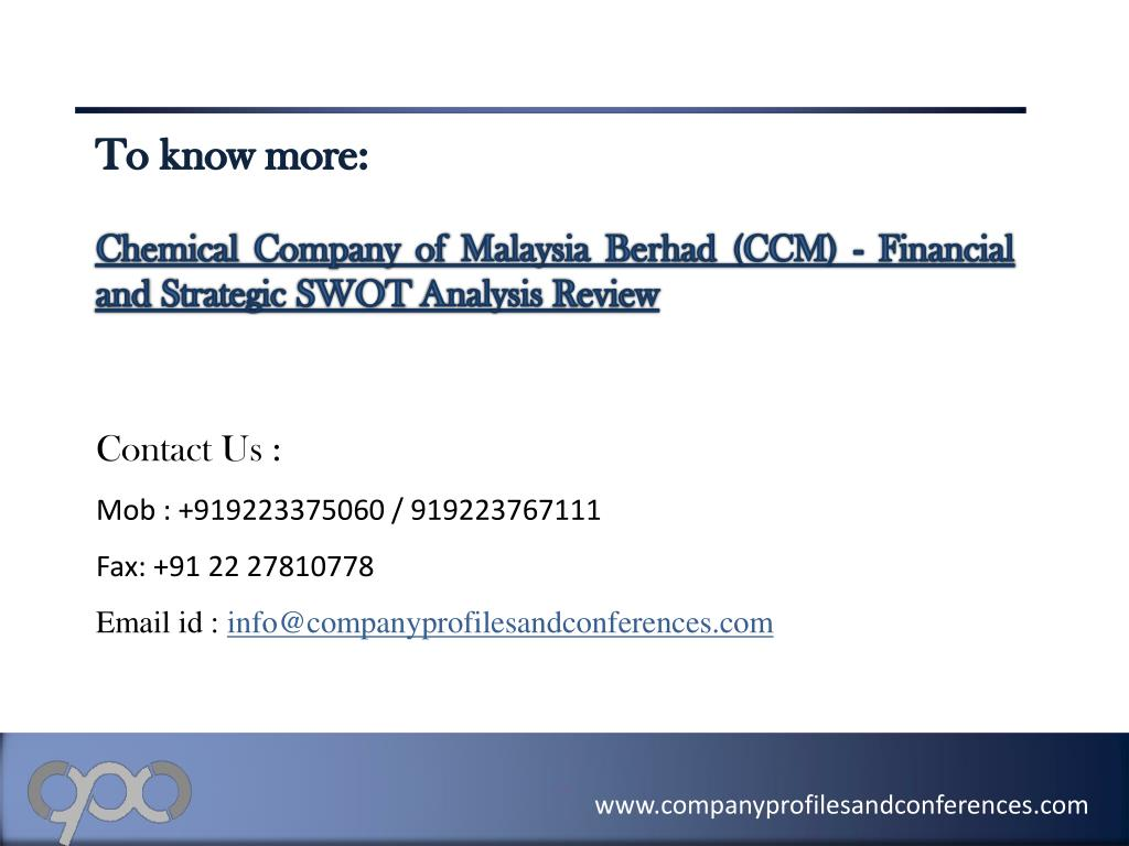 Ppt Chemical Company Of Malaysia Berhad Ccm Financial And St Powerpoint Presentation Id 2807967