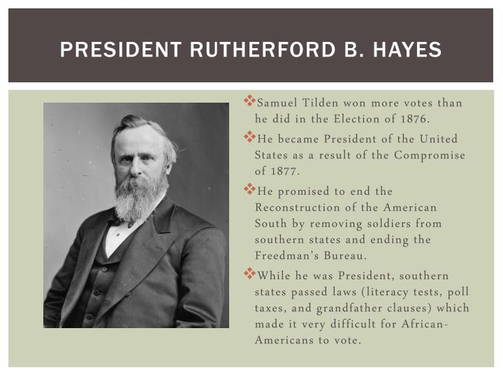 rutherford b. hayes essay Hayes historical journal: a journal of the gilded age  selected articles inspired by the nation's bicentennial, the rutherford b hayes presidential library and museums began publication of the hayes historical journal: a journal of the gilded age in may 1976 during the directorship of watt p marchman, who served as the journal's executive editor.