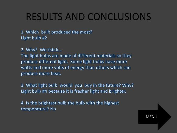 RESULTS AND CONCLUSIONS