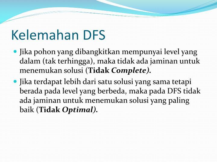 Kelemahan DFS