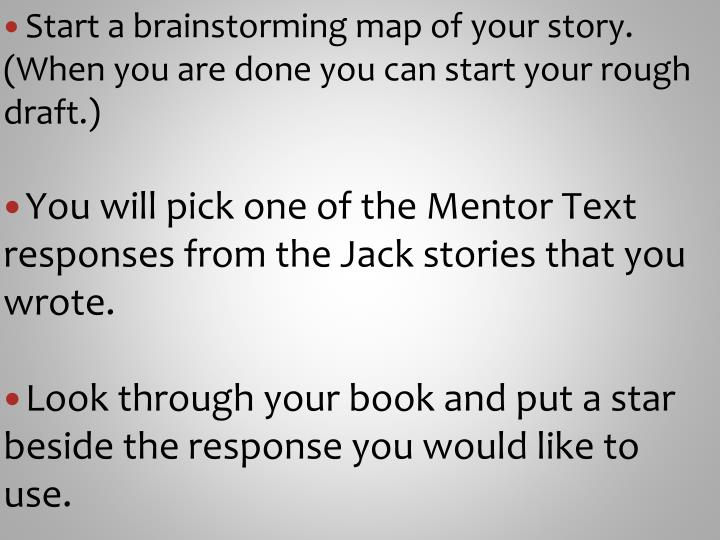 Start a brainstorming map of your story. (When you are done you can start your rough draft.)