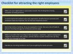 checklist for attracting the right employees