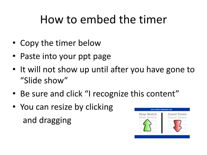 ppt how to embed the timer powerpoint presentation id 2808738