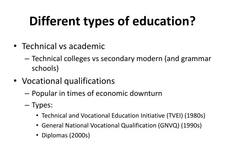 Different types of education?