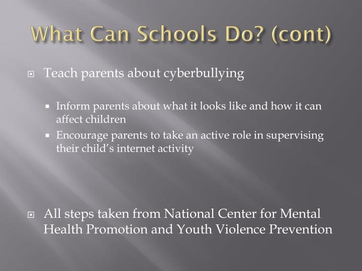 What Can Schools Do? (cont)