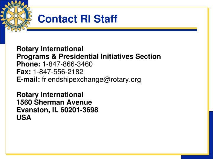 Contact RI Staff