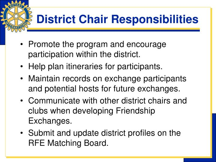 District Chair Responsibilities