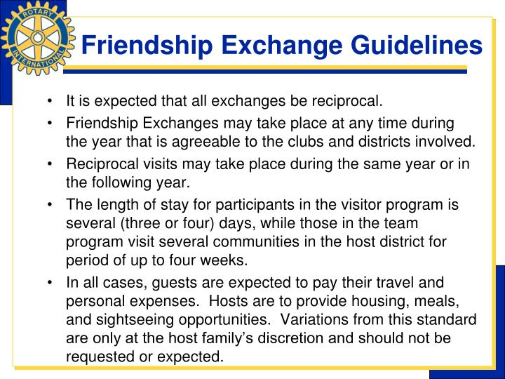 Friendship Exchange Guidelines