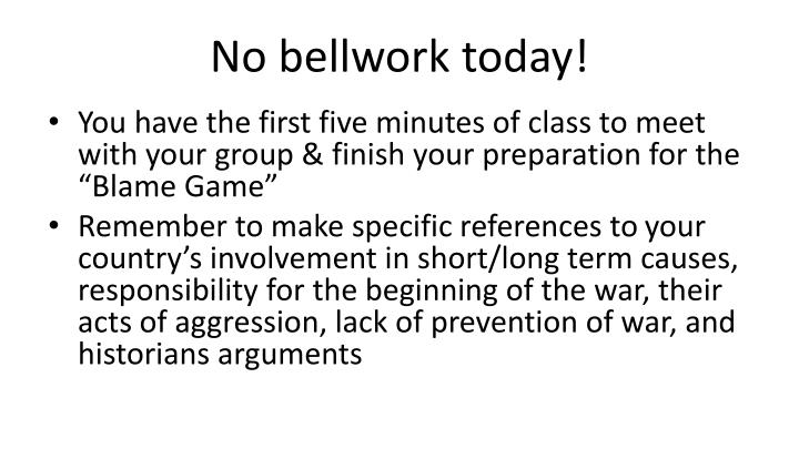 no bellwork today n.