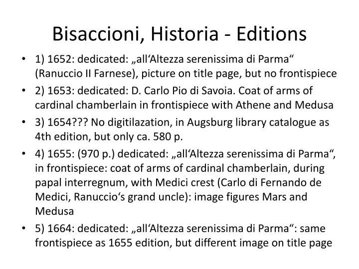 Bisaccioni historia editions