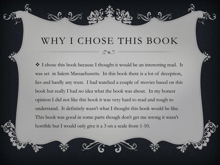 Why i chose this book
