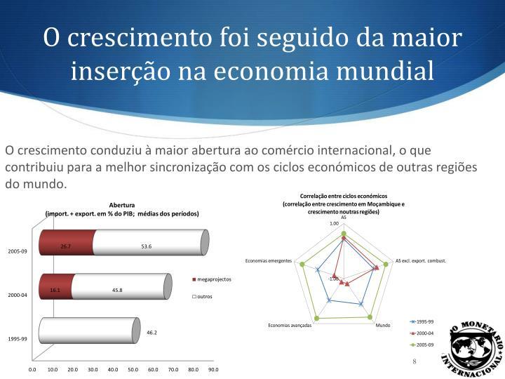 O crescimento foi seguido da maior inserção na economia mundial