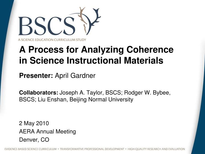 a process for analyzing coherence in science instructional materials n.
