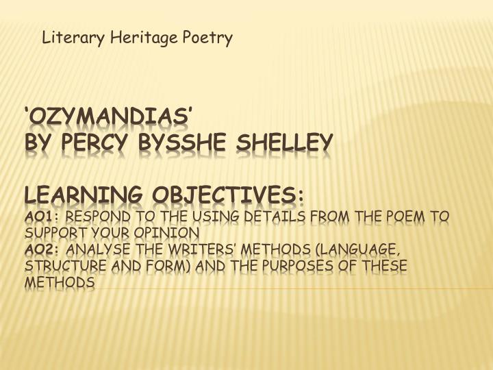 literary analysis of shelley's ozymandias Read expert analysis on ozymandias including alliteration, allusion, historical context, imagery, and irony at owl eyes.