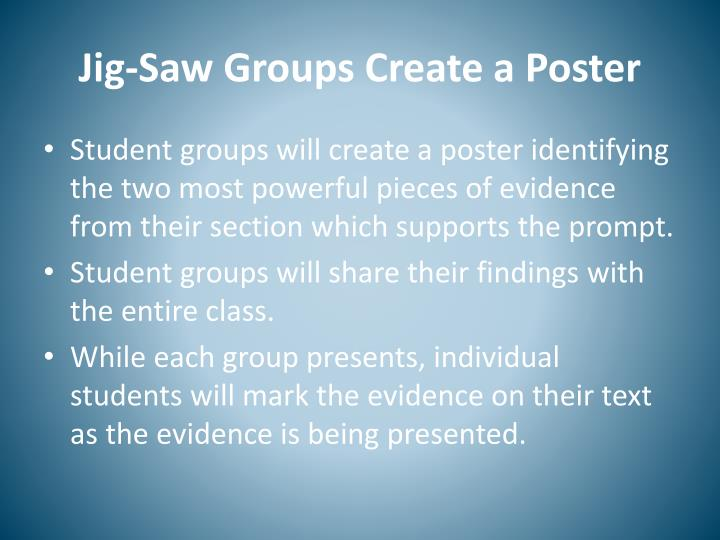 Jig-Saw Groups Create a Poster
