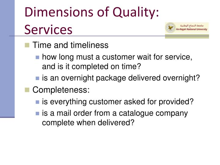 dimensions of service quality starbucks Start studying hft 3240 test 1 delivering customer service, starbucks had a joint venture with (service quality is rath a subjective perception of.