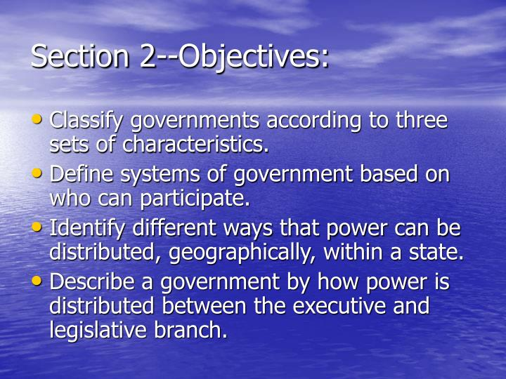 Section 2--Objectives: