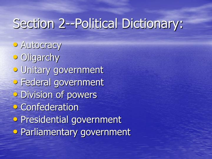 Section 2--Political Dictionary:
