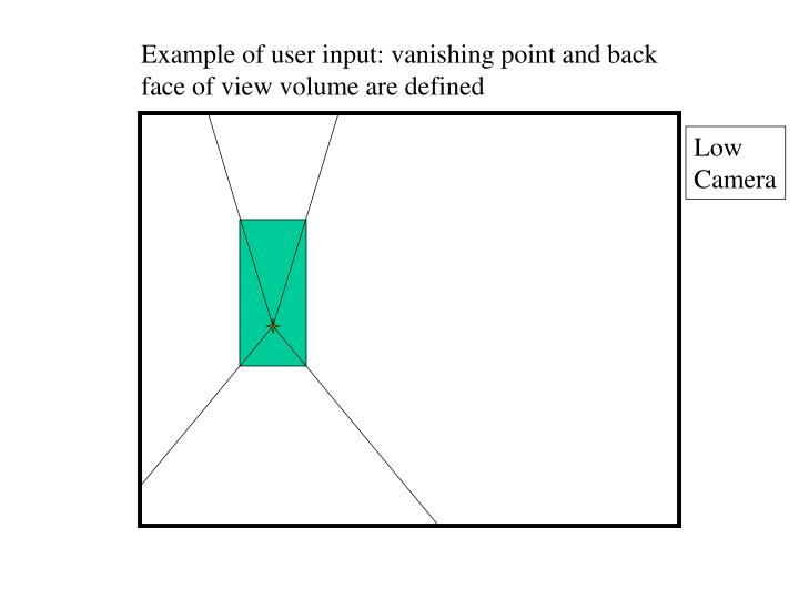 Example of user input: vanishing point and back face of view volume are defined