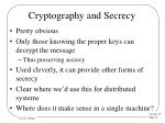 cryptography and secrecy