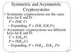 symmetric and asymmetric cryptosystems