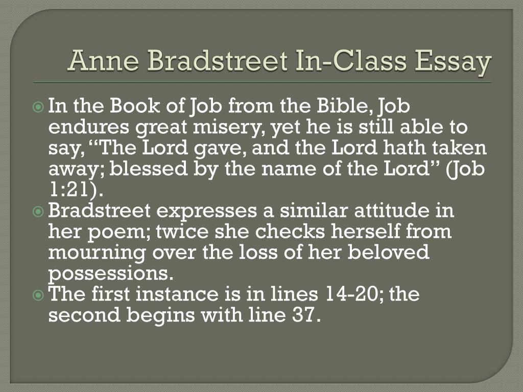 Ppt  Anne Bradstreet Inclass Essay Powerpoint Presentation  Id  Anne Bradstreet In Class Essay N
