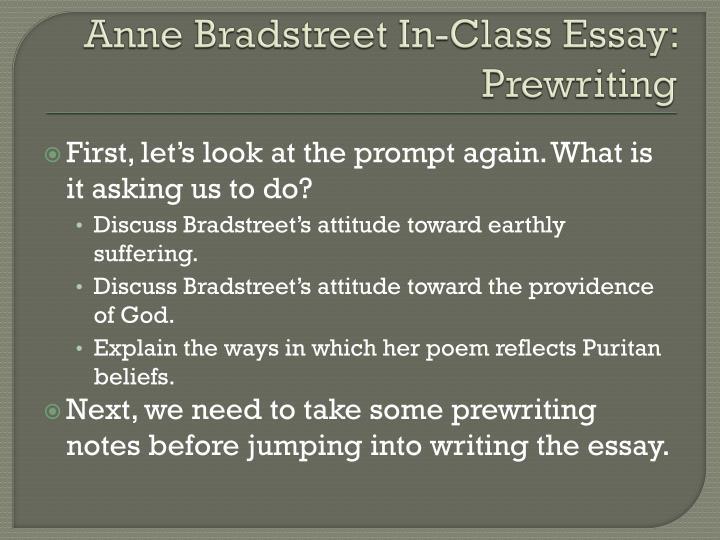 ppt anne bradstreet in class essay powerpoint presentation id  anne bradstreet in class essay prewriting