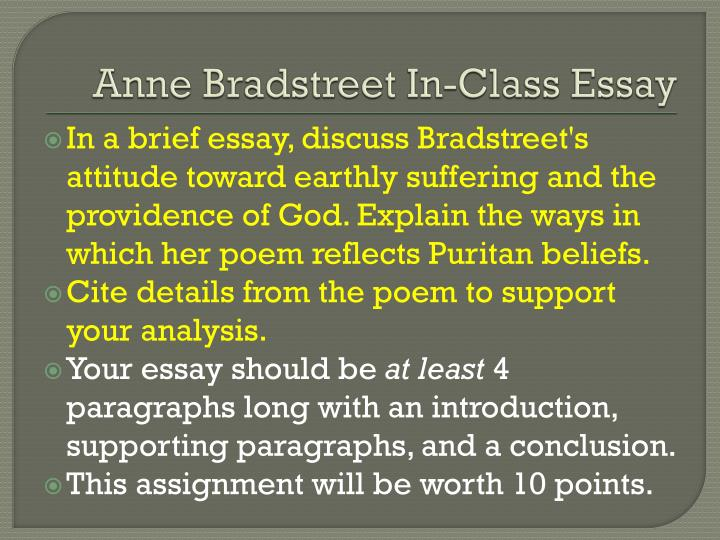 anne brandstreet and female identity essay 1 07 anne bradstreet part 1: short answer 1 identify and explain an emotion that bradstreet she is sad that her children are growing up and leaving home 2 read bradstreet's biography well, what exactly is a heroine a heroine is basically a female version of a hero when i think of a female.