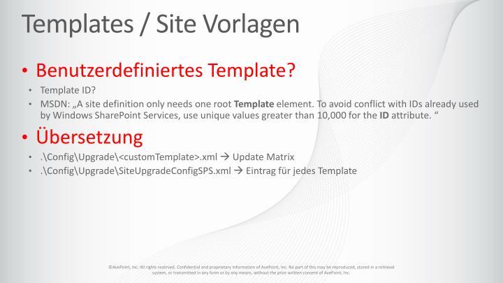 Templates / Site Vorlagen