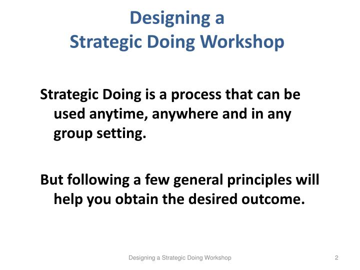 Designing a strategic doing workshop