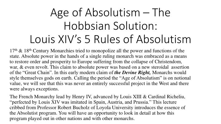 age of absolutism Absolutism and the divine right of kings  351-17(2)  absolutism was the dominant mode of french political thought during the seventeenth century.