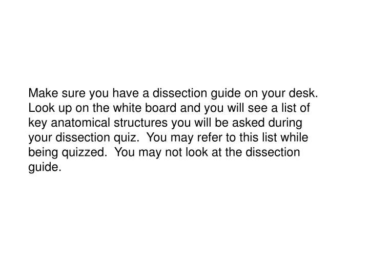 Make sure you have a dissection guide on your desk.  Look up on the white board and you will see a list of key anatomical structures you will be asked during your dissection quiz.  You may refer to this list while being quizzed.  You may not look at the dissection guide.