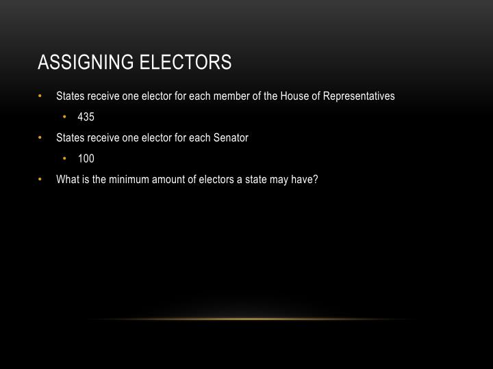 Assigning Electors