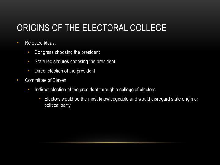 Origins of the electoral college