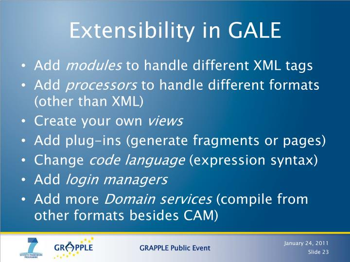 Extensibility in GALE