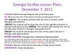 georgia studies lesson plans december 7 2011