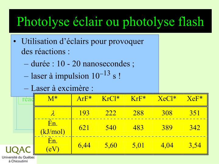 Photolyse éclair ou photolyse flash