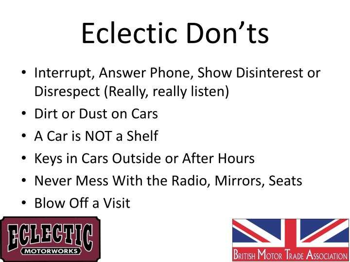 Eclectic Don'ts