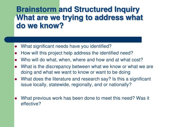 What significant needs have you identified?