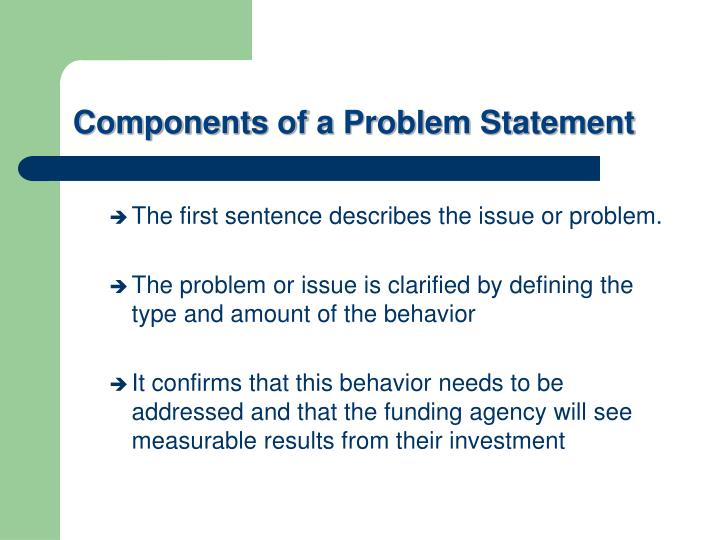 Components of a Problem Statement