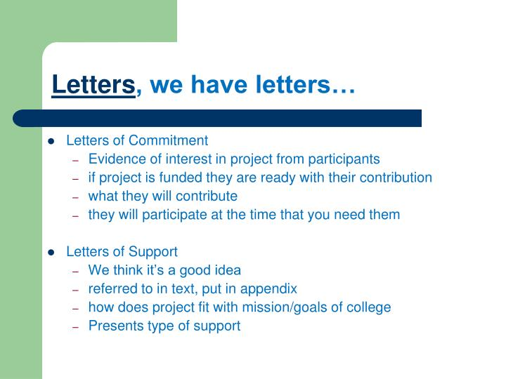 Letters of Commitment