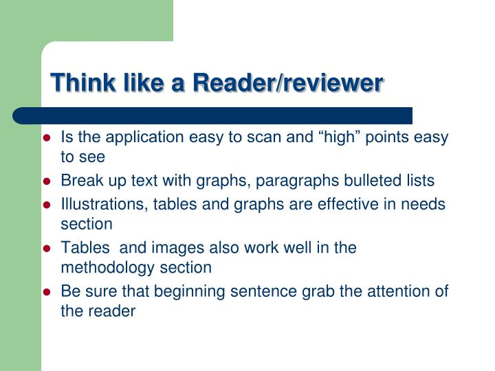 Think like a Reader/reviewer