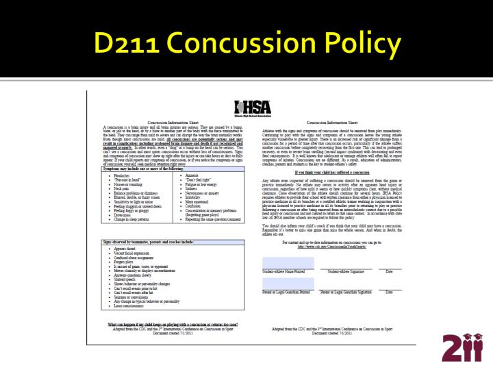 D211 Concussion Policy