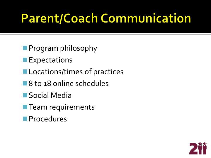 Parent/Coach Communication