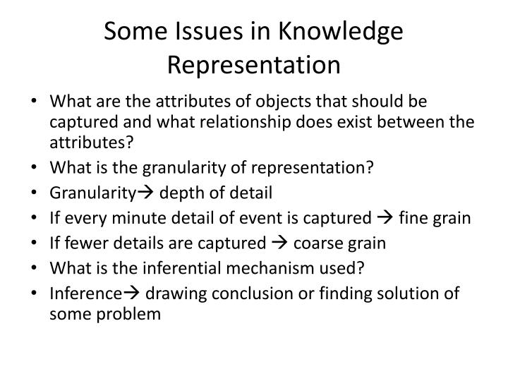 Some Issues in Knowledge Representation